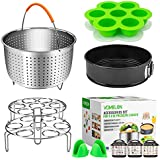 "Cooking Accessories for Instant Pot 6,8 Qt, 10-Piece Instant Pot Steamer Basket,Silicone Egg Bites Mold,7"" Springfrom Pan,Egg Steamer Racks,Magnetic Cheat Sheets And Oven Mitts Bonus Recipes Ebook"