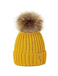 MIOIM Parent-Child Baby Hat Winter Knitted Beanies Faux Fur Pompom Hat Bobble Ski Cap