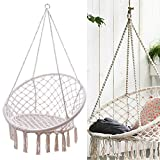 NOPTEG Sorbus Hammock Chair Macrame Swing, Handmade Knitted Hammock, 265 Pound Capacity, Perfect for Indoor/Outdoor Home, Living Room Reading, Balcony, Outdoor Rest (Beige with Accessories)