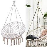 TFCFL Beige Hanging Cotton Rope Macrame Hammock Chair Swing Outdoor Home Garden 120KG