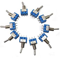 New 10PCS Blue Mini MTS-102 SPDT 3Pin 6A 125VAC 2 Position On-on Toggle Switches 3.3*1.3*0.8cm SPDT 6A 125V AC/3A 250V AC