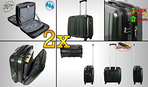 2x valigetta da pilota valigetta Set offerta Daypack Nero, con ruote, estremamente robusta, außendienst, stabile, grosszügiger scaglioni, Borsa da viaggio, Trolley