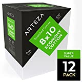 Arteza Blank Pre Stretched Canvas for Painting, 8x10'', Pack of 12,Primed, 100% Cotton, For Acrylic Paint, Oil Paint, Other Wet or Dry Art Media, For the Professional Artist, Hobby Painters, Kids