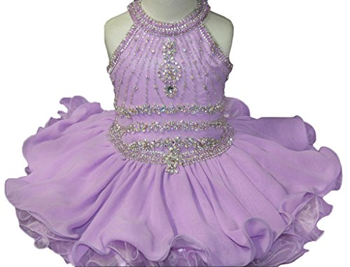 (HuaMei Little Girls Halter Chiffon Short Ball Gowns Cupcake Pageant Dresses 6T US Light Purple)