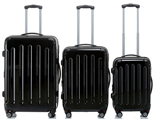 2048 Zwillingsrollen 3 tlg. Reisekofferset Koffer Kofferset Trolley Trolleys Hartschale in 14 Farben (Schwarz)
