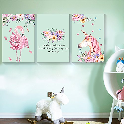 wall26 - 3 Panel Canvas Wall Art - Pastel Floral Flamingo and Unicorn Triptych Canvas Art - Giclee Print Gallery Wrap Modern Home Decor Ready to Hang - 16