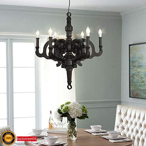 FidgetGear Paper Crystal Imitation Wood LED Chandelier Pendant Light Ceiling Lamp Black New Small (50 cm) + LED Bulbs by FidgetGear (Image #1)