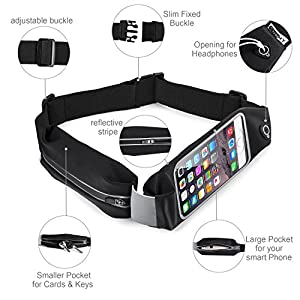 Top Fit Running Belt for Men + Women, Dual Pockets with Touch Screen, Holds all IPhones + Accessories, Completely Comfortable Running Belt for Running or Hiking. New Version (Dual Bag Black)