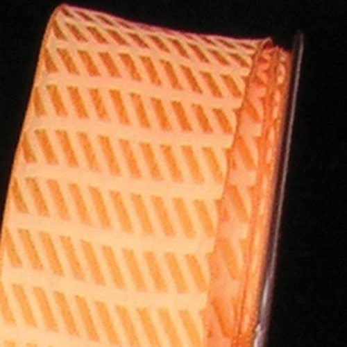 Small Orange Diagonal Stripes Woven Taffeta Wired Craft Ribbon .875