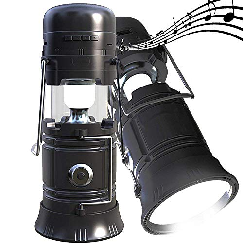 LED Camping lantern Portable Outdoor Flashlight Bluetooth Speaker FM Radio Call Reminder Solar Charging 2200Mah Power Bank Camping Gear for Camping Hunting Hurricane Emergencies Support TF Card / FM by HXF
