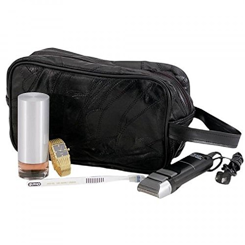 Large Genuine Black Leather Travel Kit Shaving Mens Toiletry Bag Mosaic Pattern by Dakota - Bag Dakota