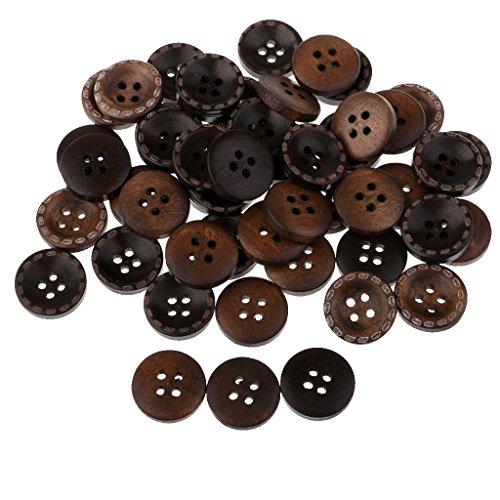 Fityle 約50個 木製ボタン 縫製ボタン 15mm 日常用 丸ボタン 交換用ボタン 人形服 4穴付き 服装/コート/かばん の商品画像