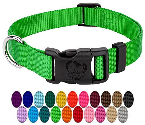 Country Brook Design - Deluxe Nylon Dog Collars-Various Colors & Sizes Available (Large, 1 Inch Wide, Hot Lime Green)