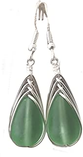 """product image for Handmade jewelry from Hawaii, wire braided Peridot green sea glass earrings,""""August Birthstone"""", (Hawaii Gift Wrapped, Customizable Gift Message)"""