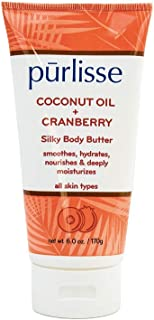 product image for purlisse Coconut Oil + Cranberry Silky Body Butter - Natural Moisturizer Cream for All Skin Types - Applying Treatment Deeply Hydrates, Nourishes & Moisturizes Skin, 6 Oz