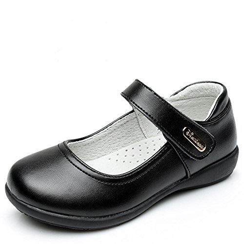 Maxu Girl Classic Uniform Leather Mary Jane Flat Shoes,Big Kid Size 5