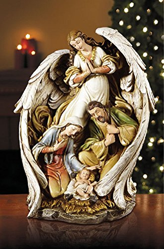 Angel With Nativity Scene, 15'' H. by AT001