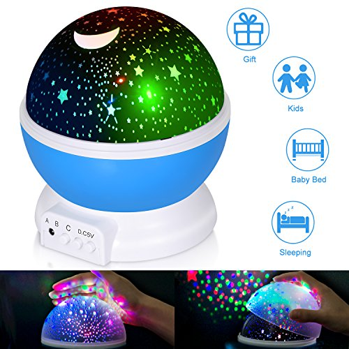 Boomile Baby Night Light  Star Light Rotating Projector  4 Led Bulbs 8 Modes  Color Changing With Usb Cable  Unique Gifts For Kids