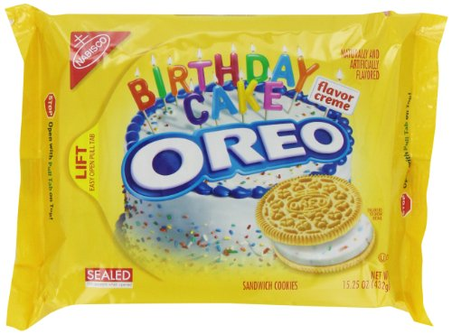 Oreo Golden Birthday Cake Sandwich Cookies, 15.25 Ounce (Pack of 12)