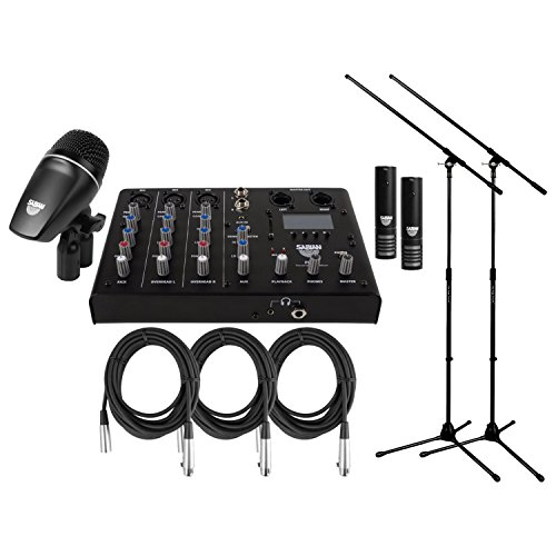 Drum Kit Sounds - Sabian SSKIT 4 Piece Drum Mic & Mixer Kit w/ 2 Mic Boom Stands and 3 XLR Mic Cables