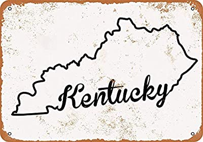 Collectible Wall Art 8 x 12 inches tin Sign-Kentucky Set 3 - Vintage Look Wall Decoration-Decorative Retro Home Coffee Bar Sign, 12 X 8 inches