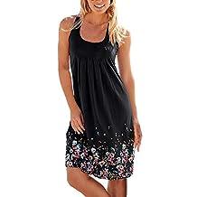 Womens Summer Printed Vest Dresses Sleeveless Sundress Loose A-line Mini Beach Dress