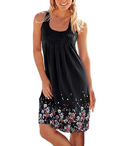 Womens Summer Casual Sleeveless Dresses Sundress Loose A-line Mini Beach Dress
