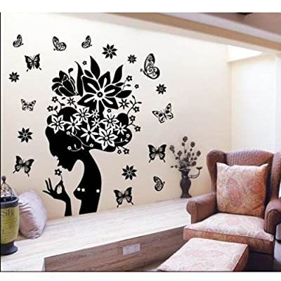 Mzy Llc (Tm) Pretty Butterfly Flower Fairy Girl Removable Pvc Wall