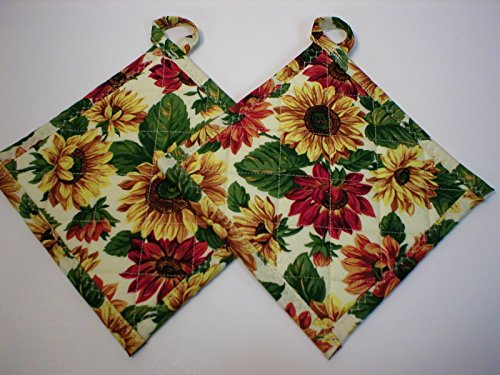 Handmade Quilted 7 Pot Holders, Hot Pads, or Trivets with Hanging Loops, Sunflower Floral, Set of 2