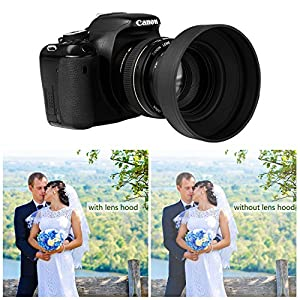 Veatree 55mm Lens Hood Set, Collapsible Rubber Lens Hood with Filter Thread + Reversible Tulip Flower Lens Hood + Center Pinch Lens Cap + Microfiber Lens Cleaning Cloth