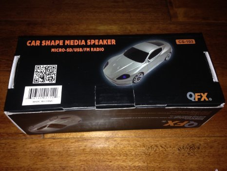 QFX CS-103 Car Shape Media Speaker Silver Micro-SD/USB/FM Ra