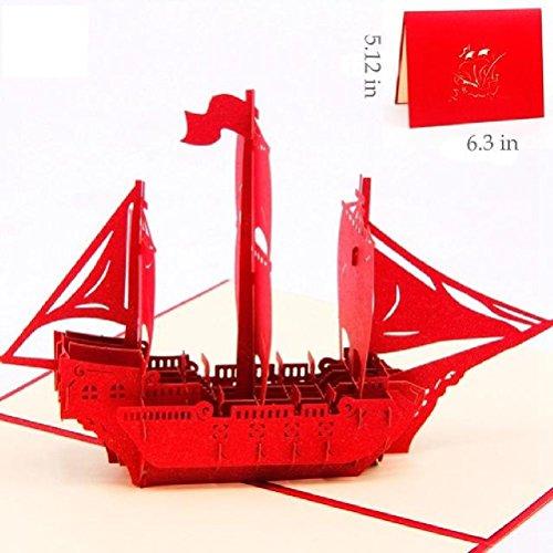 Heliyan Cards Bon Voyage Handmade 3D Happy Birthday Greeting Pop Up Kirigami Card Custom Wishes Gifts Craft Paper ()