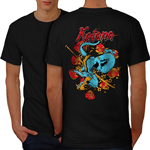 wellcoda Katana Dragon Mens T-Shirt, Oriental Design Print on The BackBlack - Dragon Oriental Print Top