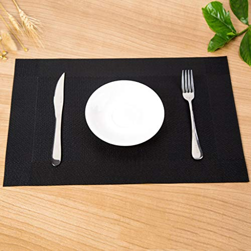 (JHFUH 4Pcs Home Dining Mat Insulation Washable Family Features Western Mat Heat Resistant Table Mat Suitable for Home Dining Hall Kitchen Hotel Business Office Decoration (Black))