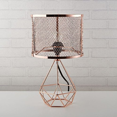 Urban Shop 784857777130 Perforated Geo Table Lamp, Rose Gold