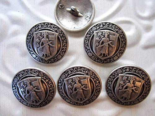 7/8''Coat of ARMS - Family Crest - Blazer Buttons (6 pc) Antique Silver Tone