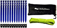 LITEOUTDOORS Ultralight Tent Stake Kit - Aluminum Tent Pegs, Reflective Guyline, Cord Tensioners - for Backpac