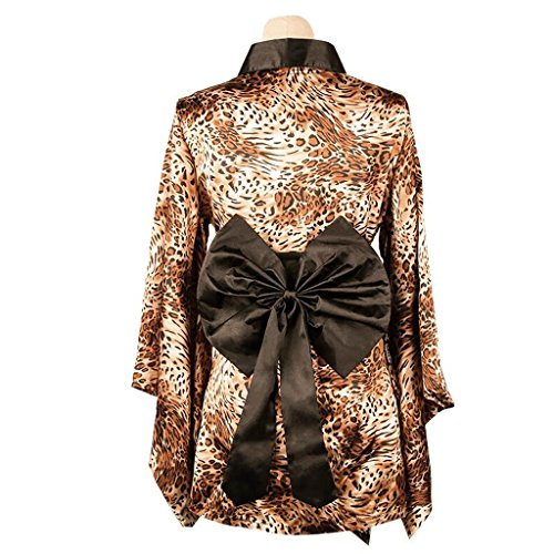 FLH Attraente Underwea Abbigliamento appetitoso estremamente tattile Leopard Giapponese Kimono Big Pajamas Accappatoio Leopard erogeno