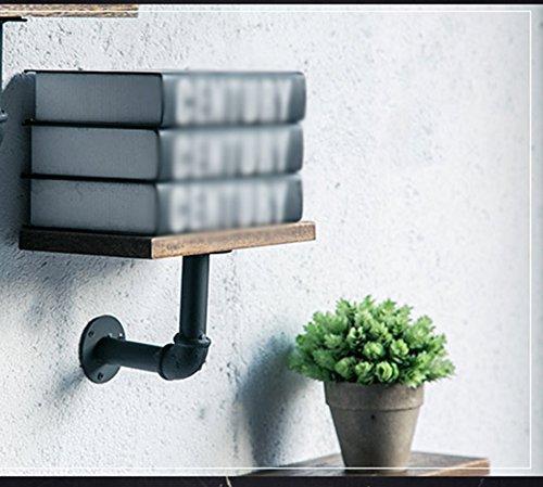 CSQ Wall-Mounted Decorative Storage Rack, Creative Solid Wood Iron Art Flower Stand Bedroom Bar Living Room Hotel Cafe Decorative Storage Shelf 20152CM