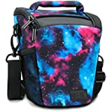 SLR/DSLR Camera Case Bag with Top Loading Accessibility , Adjustable Shoulder Sling , Padded Handle , Removeable Rain Cover & Weather Resistant Bottom by USA Gear - Galaxy