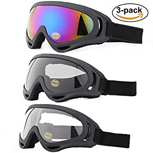Ski Goggles, Yidomto Pack of 3 Snowboard Goggles for Kids,Boys,Girls,Youth, Mens,Womens,with UV Protection,Windproof,Anti Glare(multicolor/Grey/Transparent)