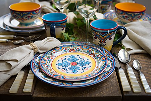 Euro Ceramica Zanzibar Collection Vibrant 16 Piece Ceramic Dinnerware Set, Service for 4, Spanish Floral Design, Multicolor