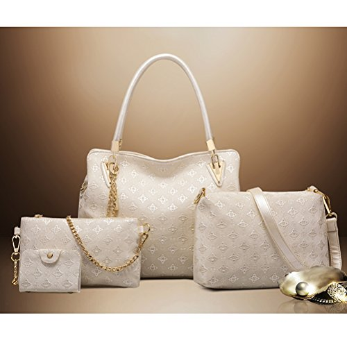 White Crossbody 4pcs Handle Tote PU Bag with Wallet Set Leather Handbags Women Bag of OULII Bag Top Shoulder wq1CgUxH