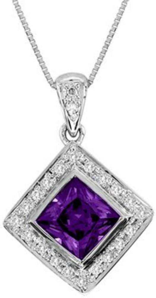 Rylos - Collar con colgante de amatista y diamante (oro blanco de 14 quilates)