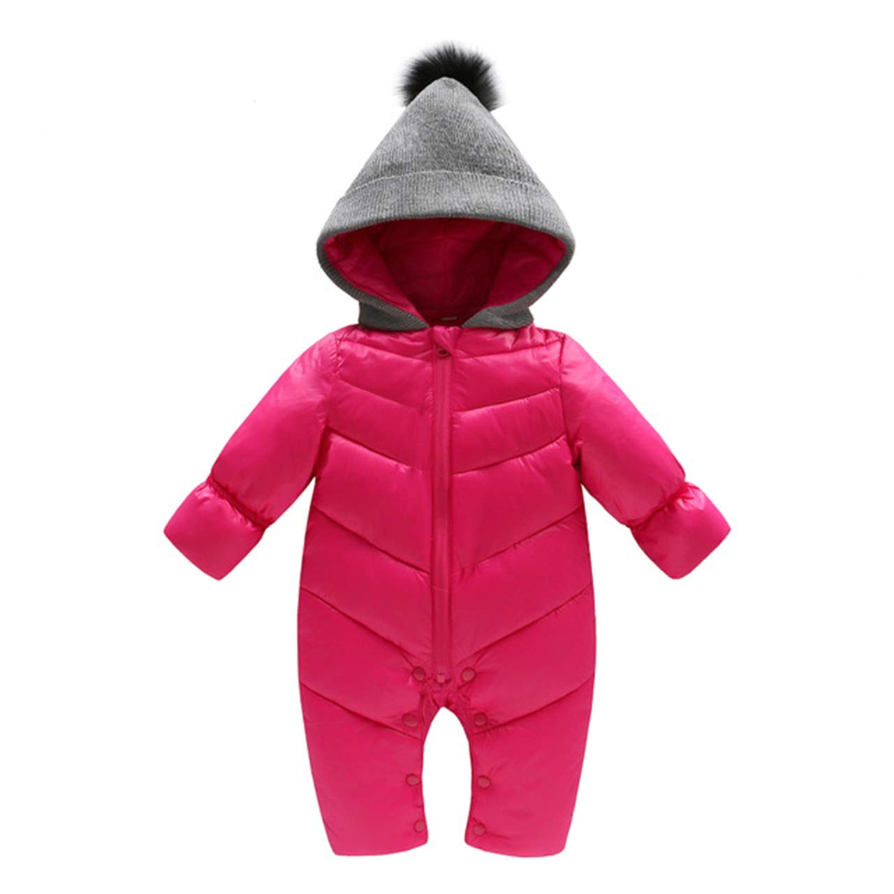 Beiduoxiong Baby Infant Boys Girl Winter Dwon Romper Hooded Snowsuit Jumpsuit 0-18 Months