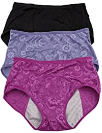 Women Menstrual Period Briefs Jacquard Easy Clean Panties Multi Pack US Size XXS-4XL/11