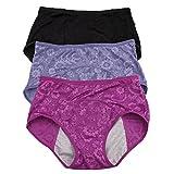 YOYI FASHION Women Menstrual Period Briefs Jacquard Easy Clean Panties Multi Pack US Size M/6 Black Blue Purple