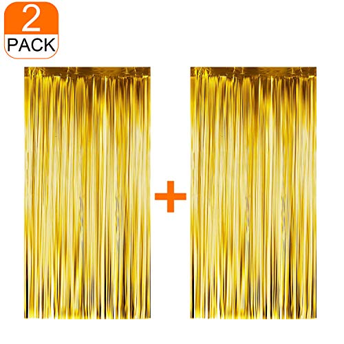 2 Pcs Gold Party Decorations/Gold Tinsel Foil Fringe Curtains (3ft x 6.5ft) for Party Photo Backdrop,for Wedding/Birthday/Decor ()