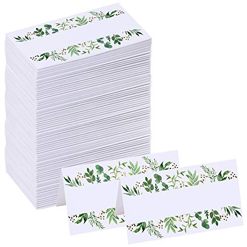 Supla 100 Pcs Greenery Wedding Table Setting Name Place Cards Watercolor Floral Eucalyptus Escort Cards Party Tented Cards Guest Seating Cards Buffet Cards Folded Cards for Christmas Dinner Birthday ()