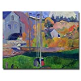 This ready to hang, gallery-wrapped art piece features a landscape of a mill. Paul Gauguin was a leading Post-Impressionist painter. His bold experimentation with coloring led directly to the Synthetist style of modern art while his expression of the...
